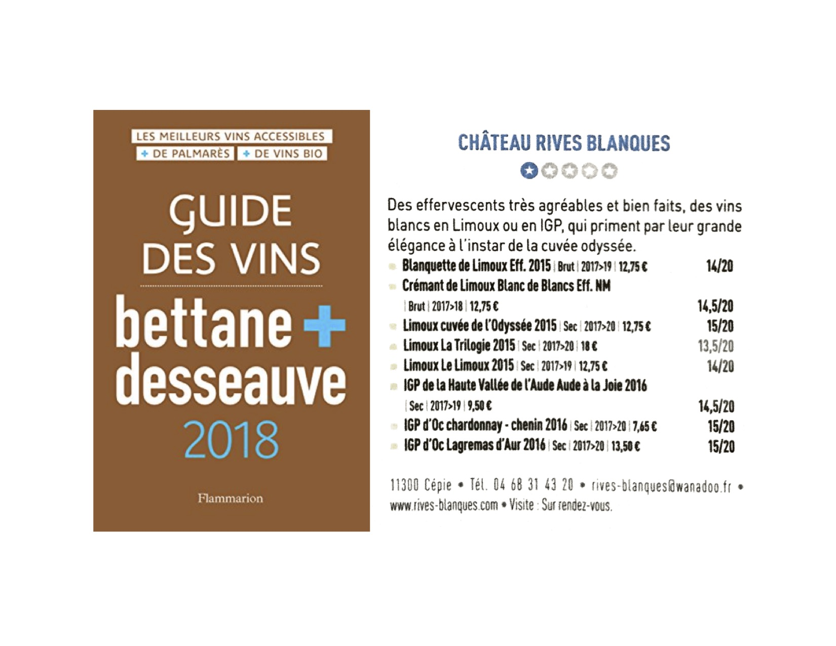 septembre 2017 les notes du guide des vins bettane desseauve 2018 chateau rives blanques. Black Bedroom Furniture Sets. Home Design Ideas