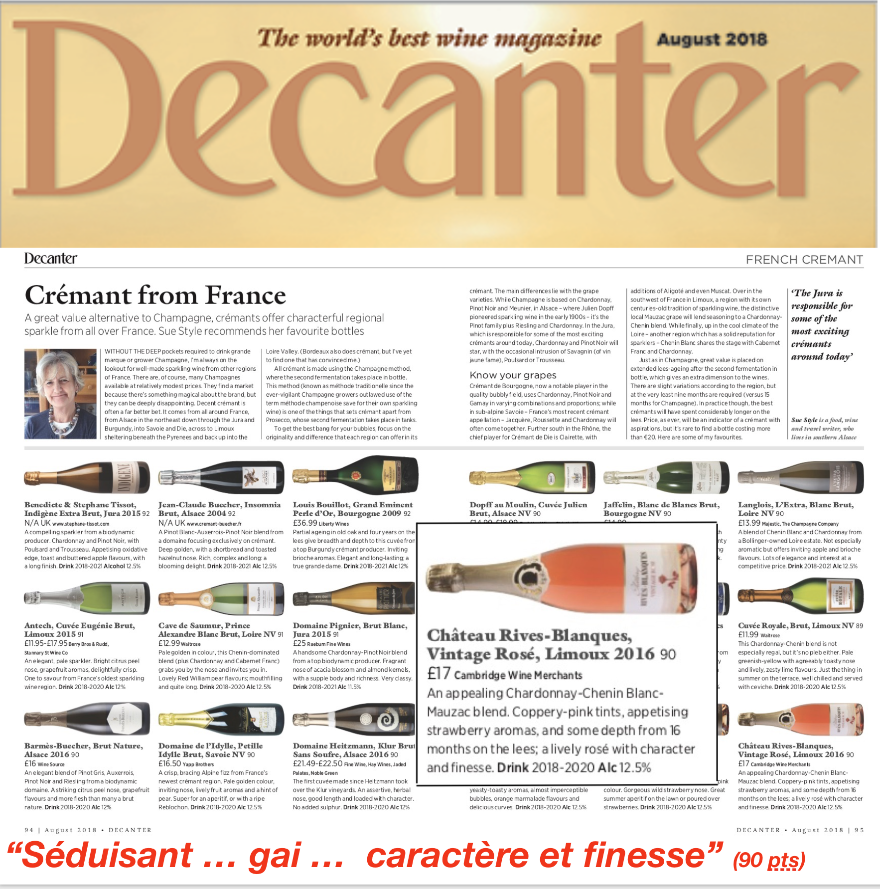 Best Pinot Noir 2020 August 2018: Decanter magazine awards 90 points to Vintage Rose in